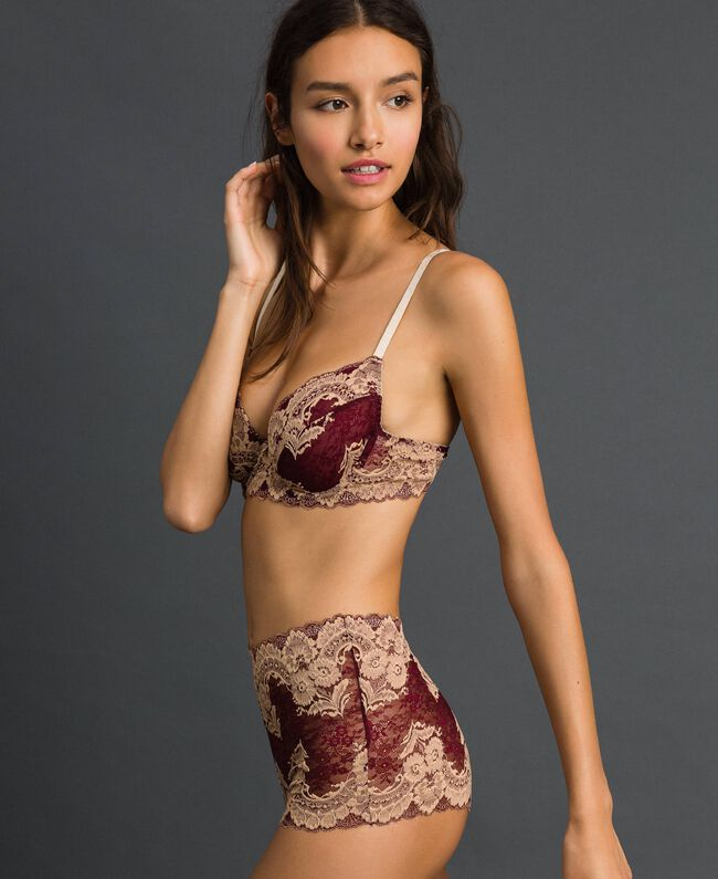 Soutien-gorge à armatures en dentelle bicolore Rouge Violet / Beige Foncé Femme 192LL6D55-01