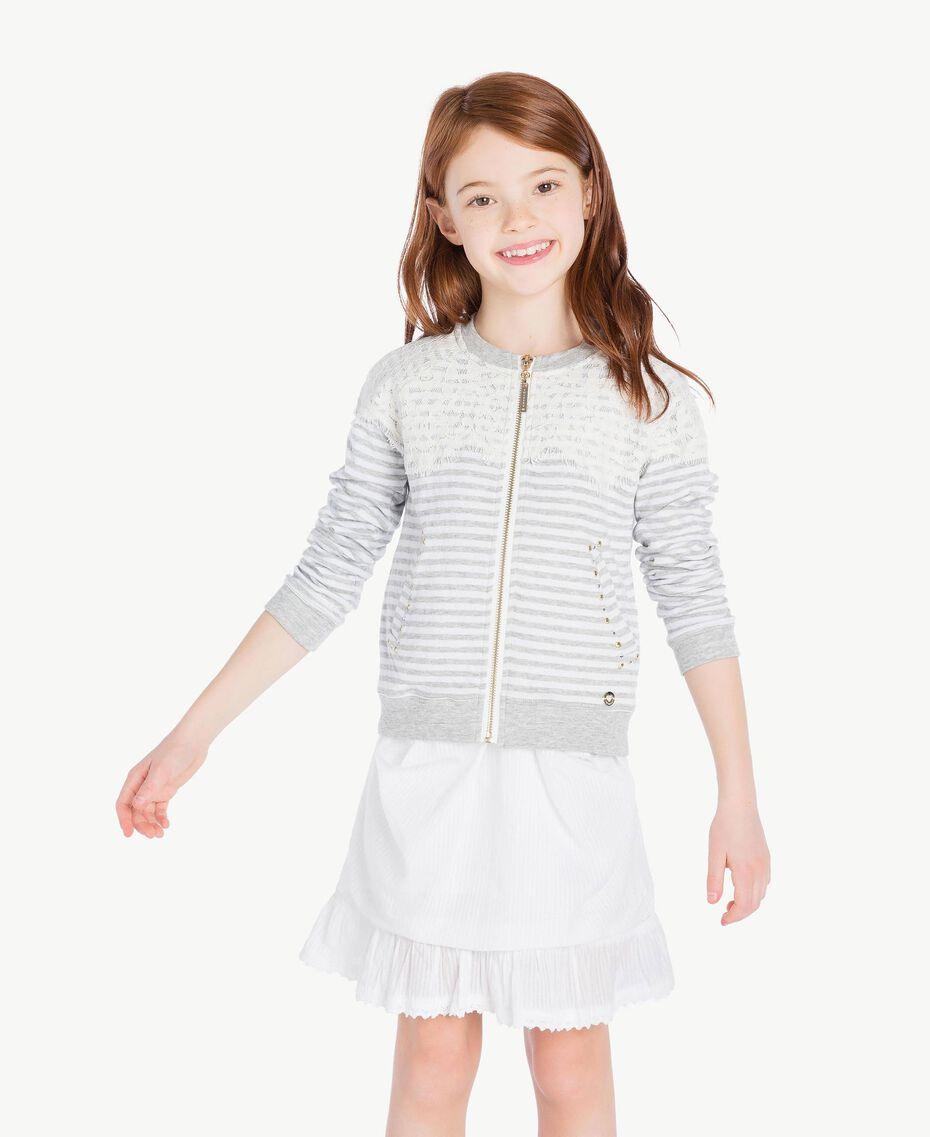 "Lace sweatshirt ""Papyrus"" White / Melange Grey / Chantilly Child GS82UB-02"