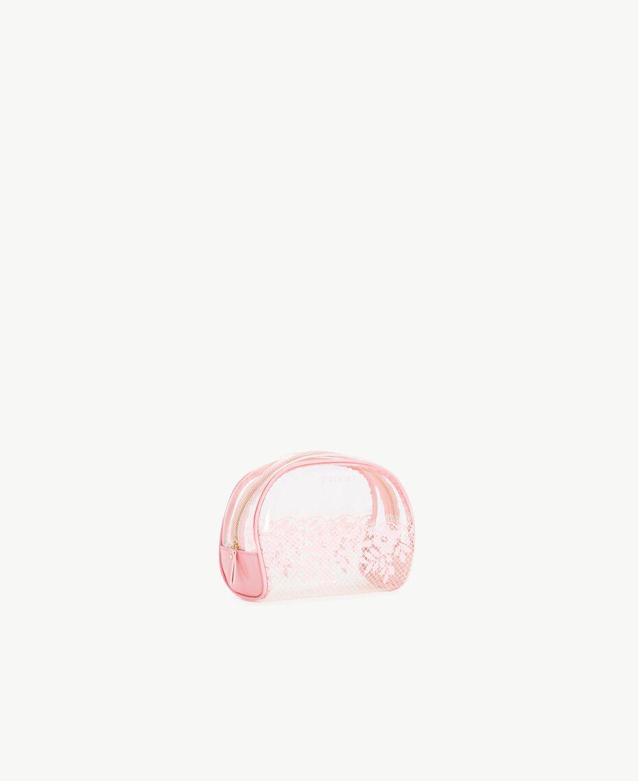 "Beautycase mit Spitzenprint Zweifarbig Pinkie Sugar / ""Peach Powder""-Rosa Frau LS8AHH-02"
