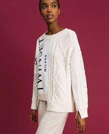 Cable knit jumper with inlays and logo White Snow Woman 192TT3060-02