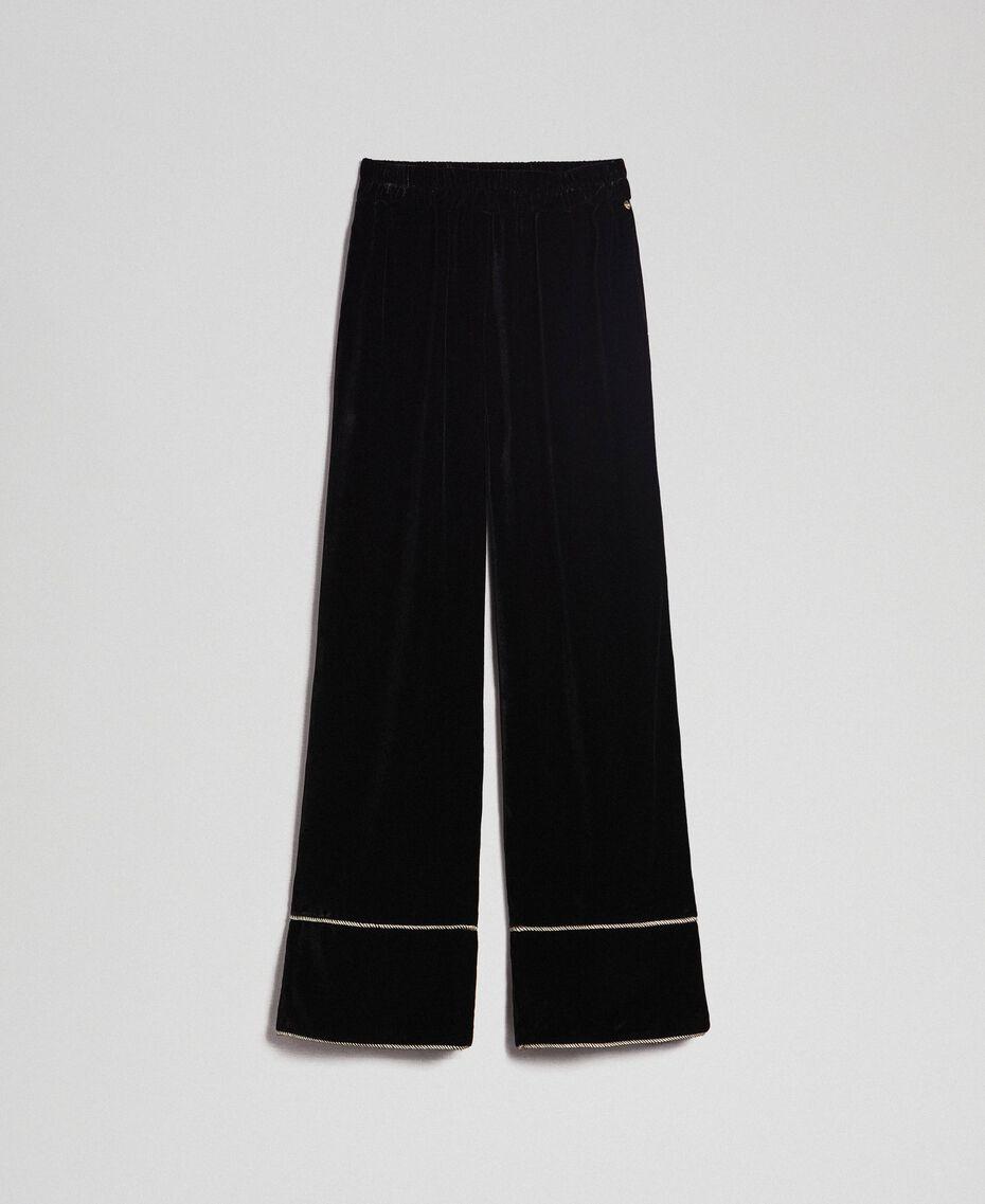 Pantaloni a palazzo in velluto Nero Donna 192TT2425-0S