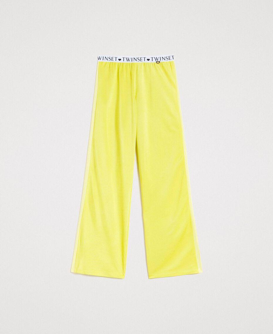 """Pantalon avec bandes latérales Jaune """"Jus De Citron"""" Femme 191LL23KK-0S"""