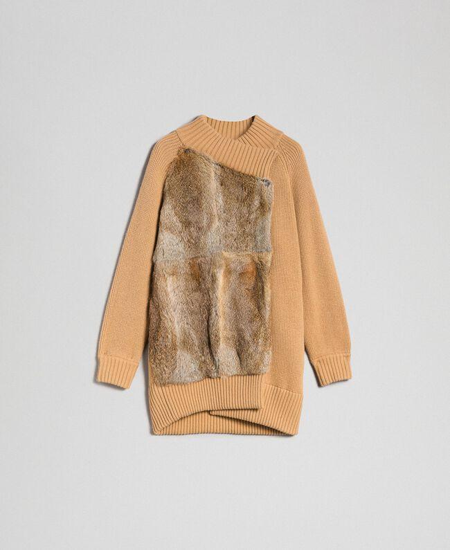 Cappotto in maglia con inserto in lapin Donna, Beige