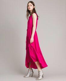 """Robe longue en crêpe de Chine Fuschia """"Rose Psychédélique"""" Femme 191LB2LAA-02"""