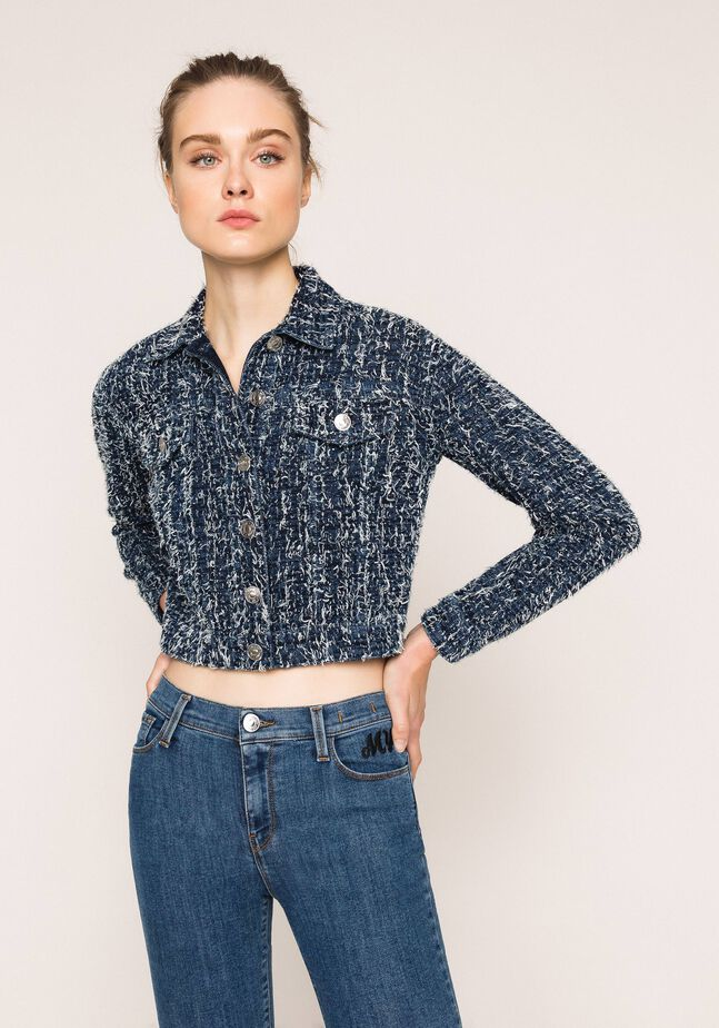 Giacca in jeans con bouclé