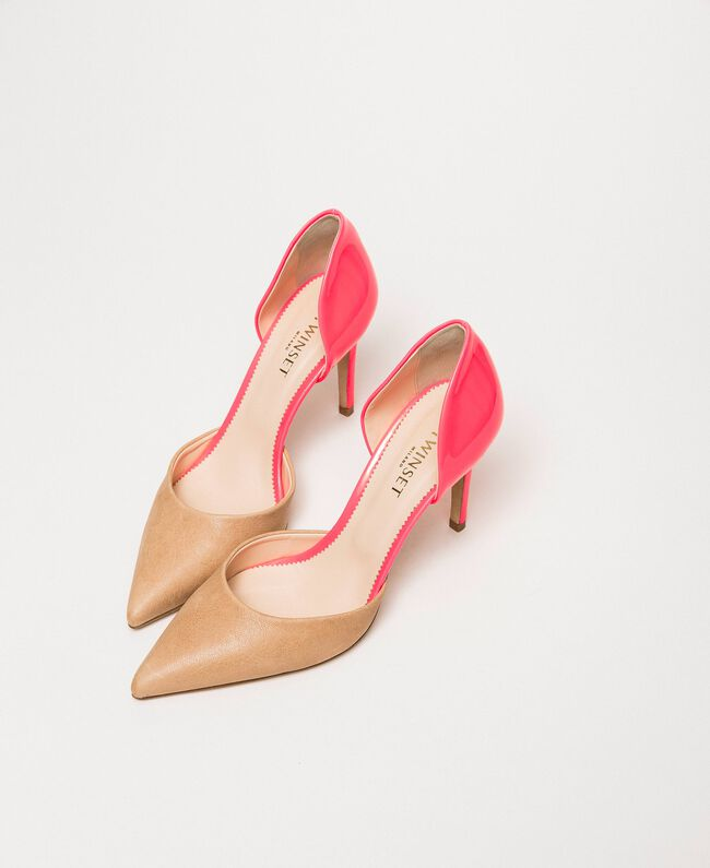 """Patent leather and leather court shoes Two-tone """"Desert"""" Beige / Fluo Fuchsia Woman 201TCP012-01"""