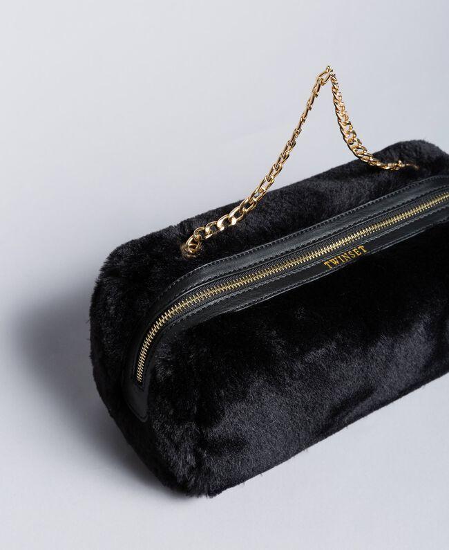 Trousse à maquillage en fausse fourrure Noir Femme LA8ZGG-01
