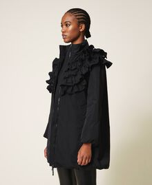 Taffeta puffer jacket with ruffles Black Woman 202ST2100-04