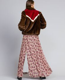 Veste en fausse fourrure avec incrustations Multicolore Acajou / Fuchsia Cerise / Nacre Femme YA82CB-03