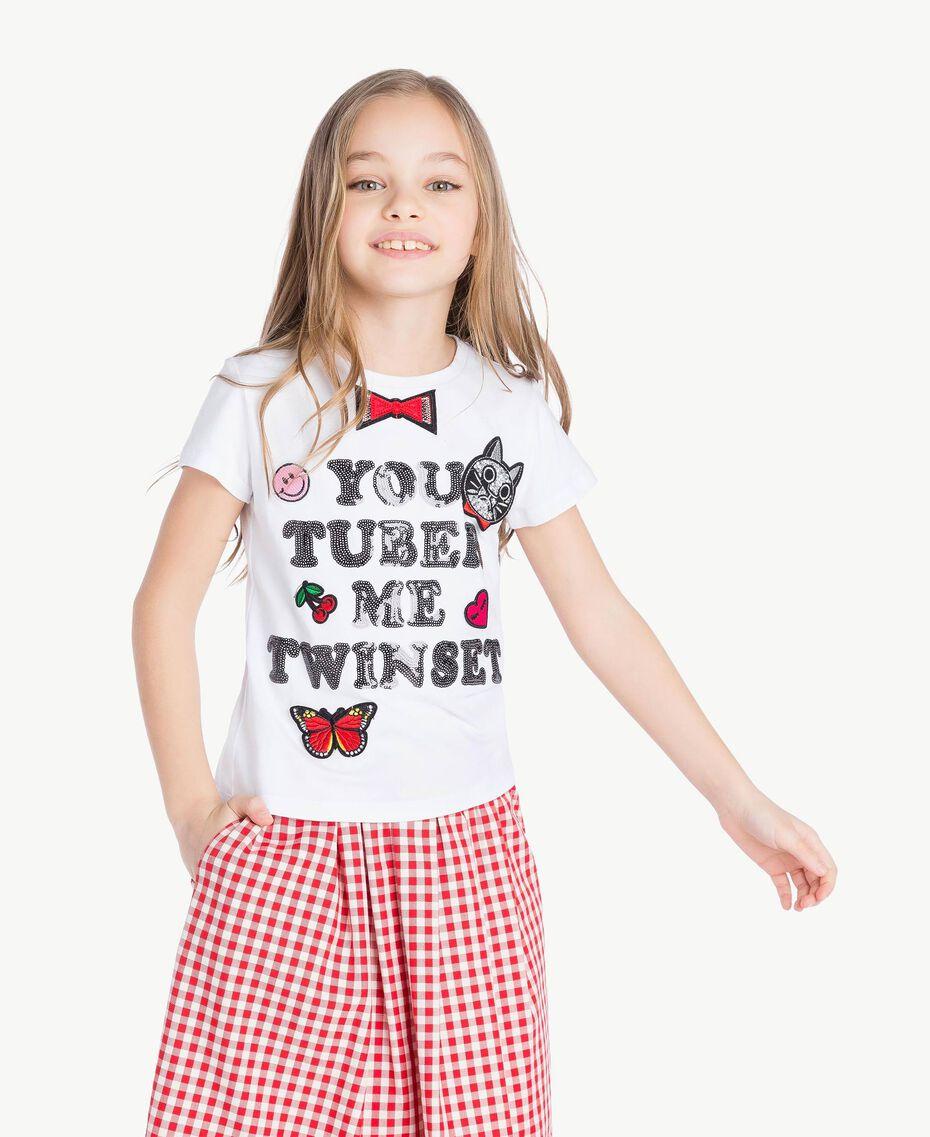 """T-shirt paillettes Blanc """"Papers"""" Enfant GS82RA-02"""