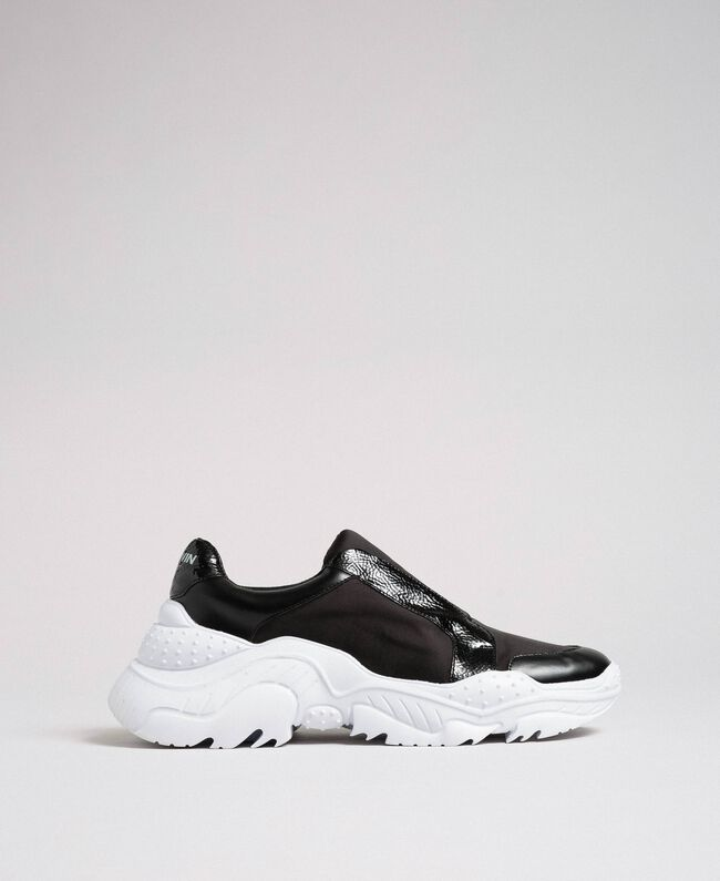 Faux leather running shoes with no laces Black Woman 192MCP06L-04