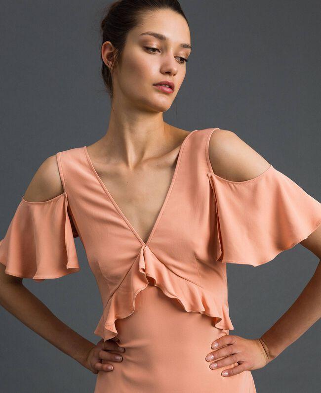 Robe longue en crêpe georgette avec volant Rose Mousse Femme 192TP2385-01