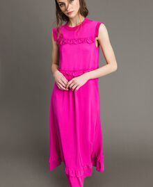 "Ruched georgette long dress ""Electric Pink"" Fuchsia Woman 191TP2323-01"