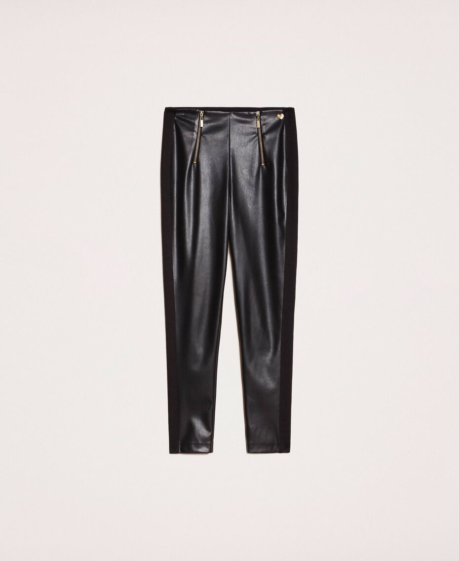 Faux leather leggings with zip Black Woman 201TP2200-0S