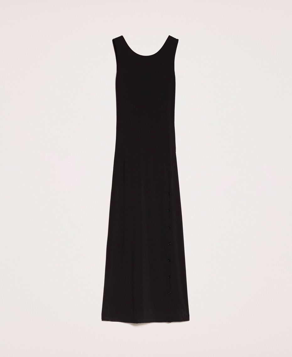 Long dress with slit Black Woman 201MT2152-0S