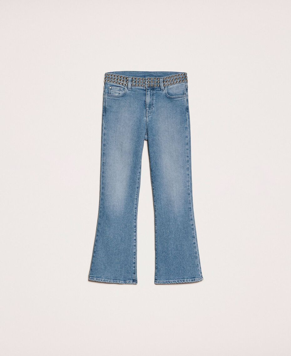 Flared jeans with studs Denim Blue Woman 201MP226A-0S