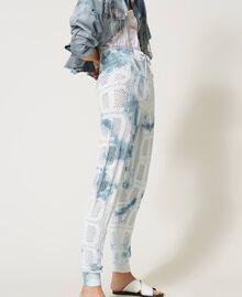 "Pantaloni jogging in maglia con logo Tie Dye Tricot Bianco ""Neve"" / Blu ""Nautical"" Donna 211TT3252-02"