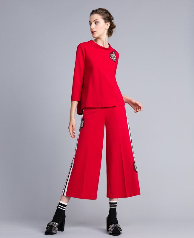 Milan stitch cropped trousers Venetian Red Woman PA821D-0T