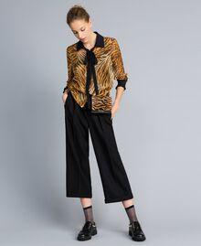 Camisa de gasa de seda estampada Estampado Tigre Mujer TA8252-01