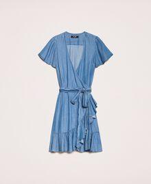 Flowing denim dress with flounce Denim Blue Woman 201MT2193-0S
