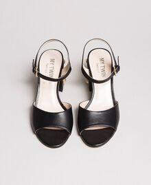 Sandalias de piel sintética con tacón de bisutería Negro Mujer 191MCP04A-04