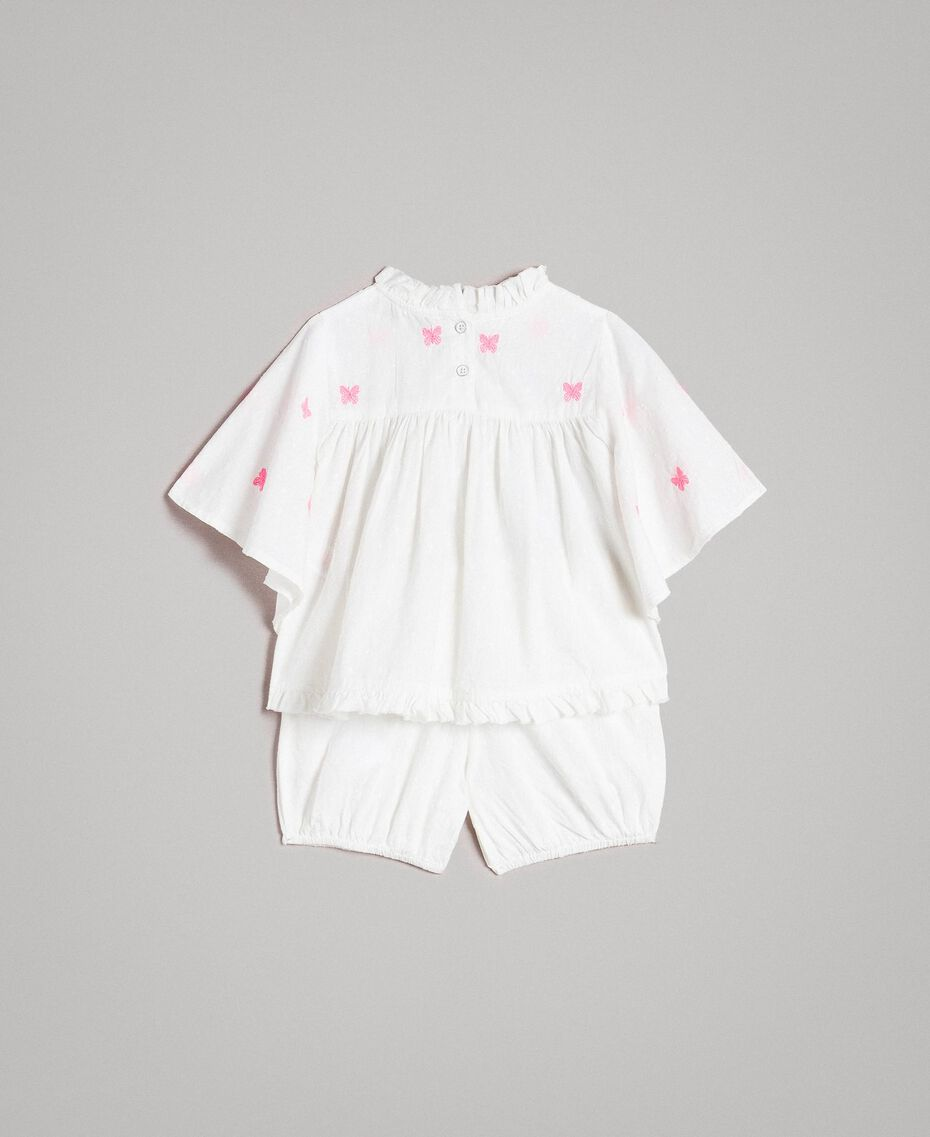 Plumetis blouse and shorts with embroidery Optical White / Neon Fuchsia Embroidery Child 191GB2370-0S