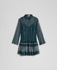 Robe en dentelle de Chantilly avec bas plissé Vert Forêt / Blanc Crème Femme 192ST2110-0S