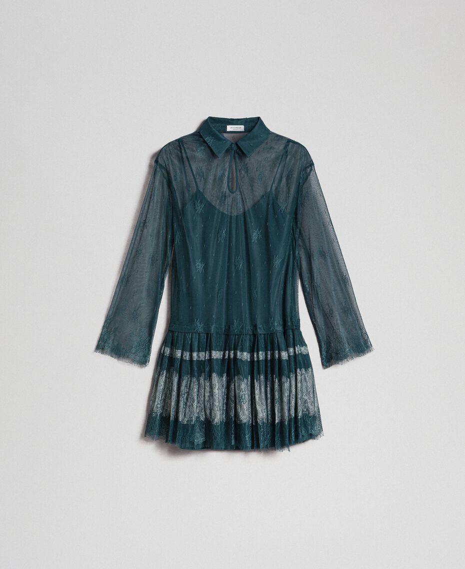 Vestido de encaje Chantilly con bajo plisado Verde Forest / Blanco Nata Mujer 192ST2110-0S