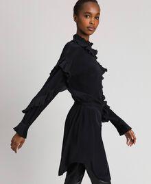 Kleid aus Crêpe de Chine aus Seidenmischung Schwarz Frau 192TP2101-02
