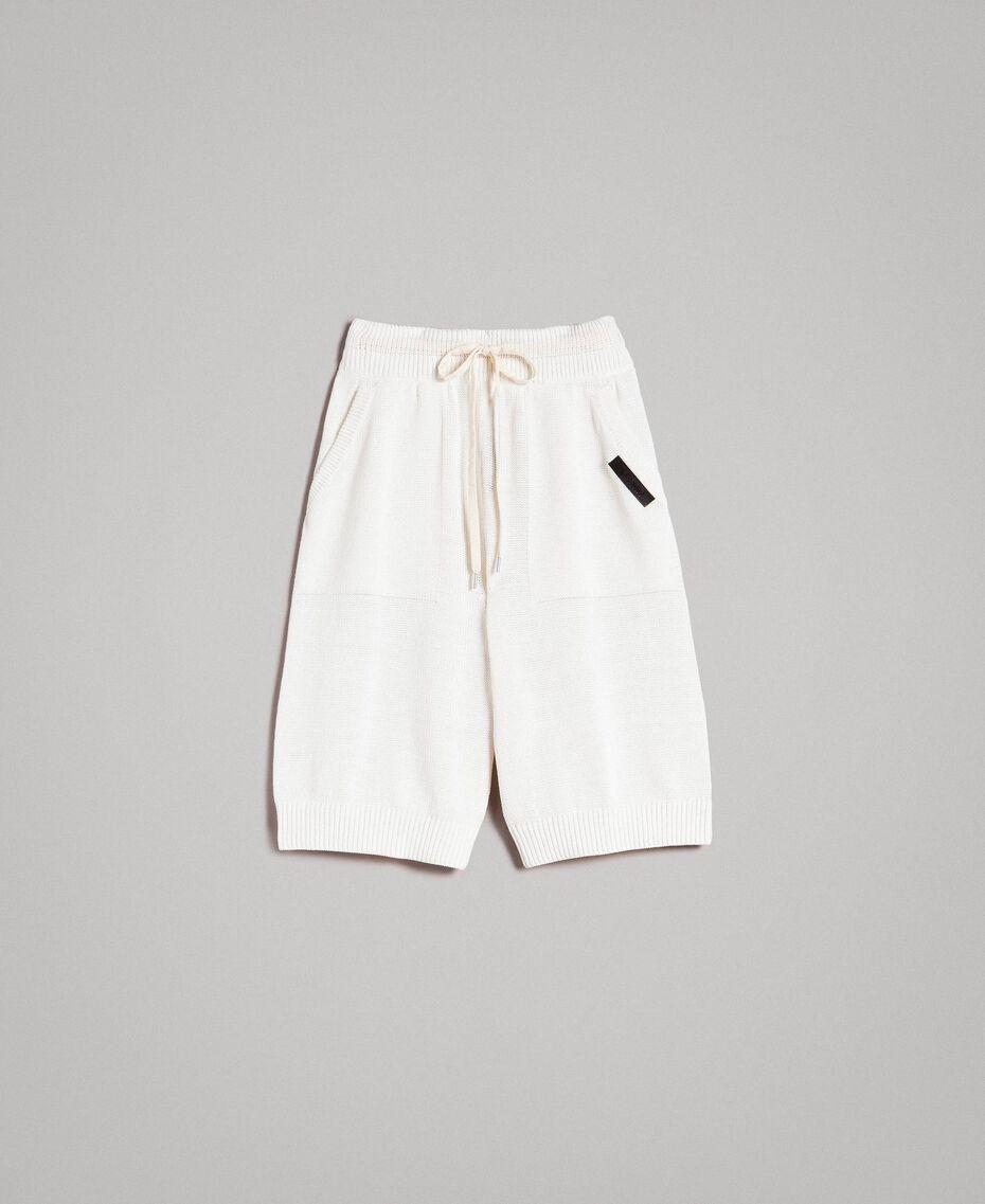 Bermuda en coton mélangé Blanc Opaque Homme 191UT3084-0S