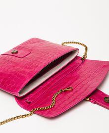 "Croc print leather Rebel pochette ""Black Cherry"" Red Croc Print Woman 201TA7112-05"