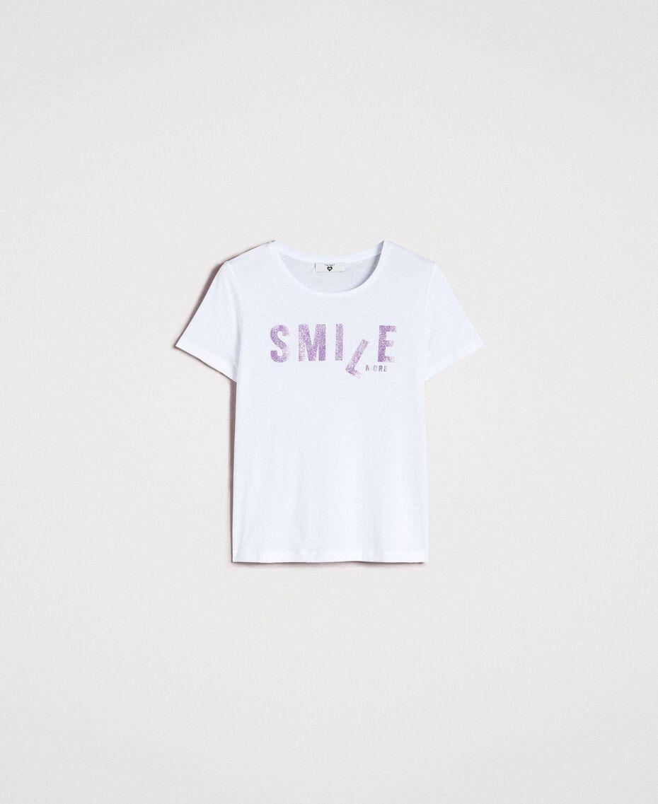 T-shirt with glitter print White Woman 191LB23LL-0S