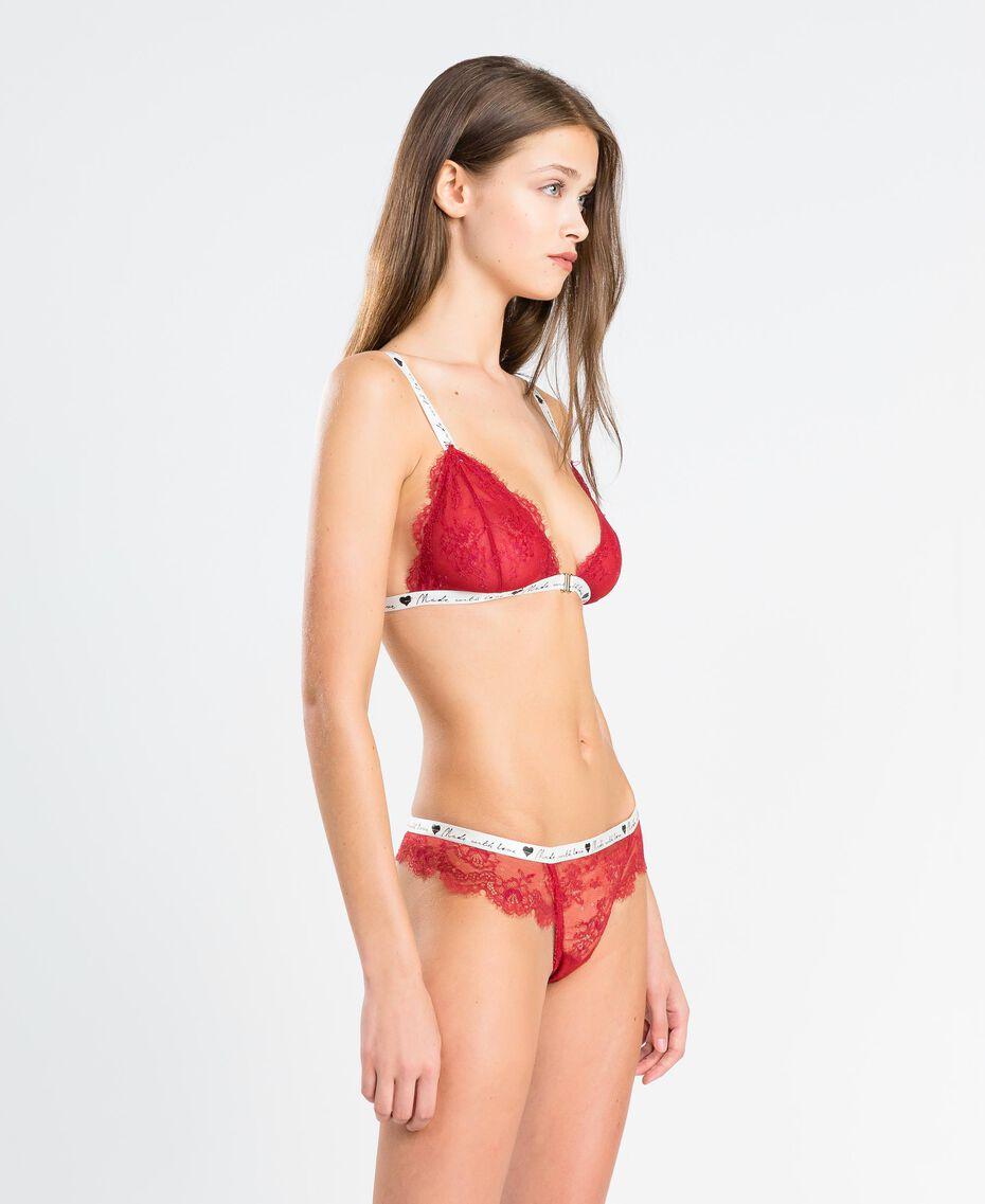 """Triangolo in pizzo con elastico a contrasto Rosso """"Rougeatre"""" Donna LA8F22-0S"""