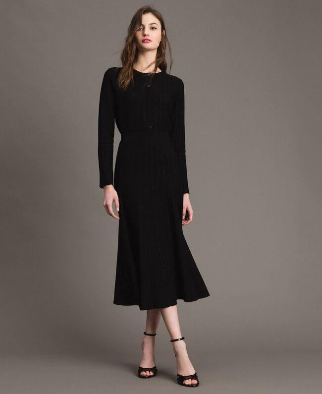 Jupe mi-longue ornée de bandes en lurex Noir Femme 191TP3253-01