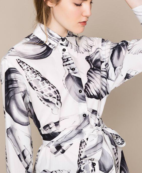 Printed poplin long shirt
