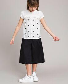 Plumetis shirt with butterflies Optical White / Black Embroidery Child 191GJ2371-0S