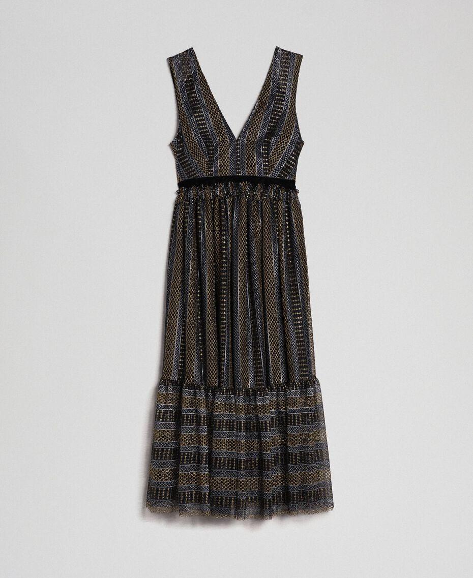 Кружевное платье-миди с люрексом Черный женщина 192TT2361-0S