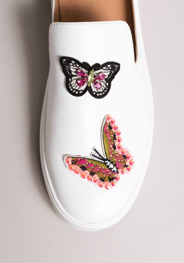 Leather mules with butterfly patches