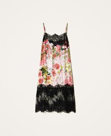 Printed satin slip dress with lace Animal Print Woman 202LL2EJJ-0S
