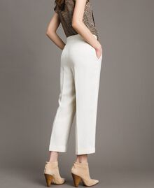 Linen blend cropped trousers White Snow Woman 191TP2202-04