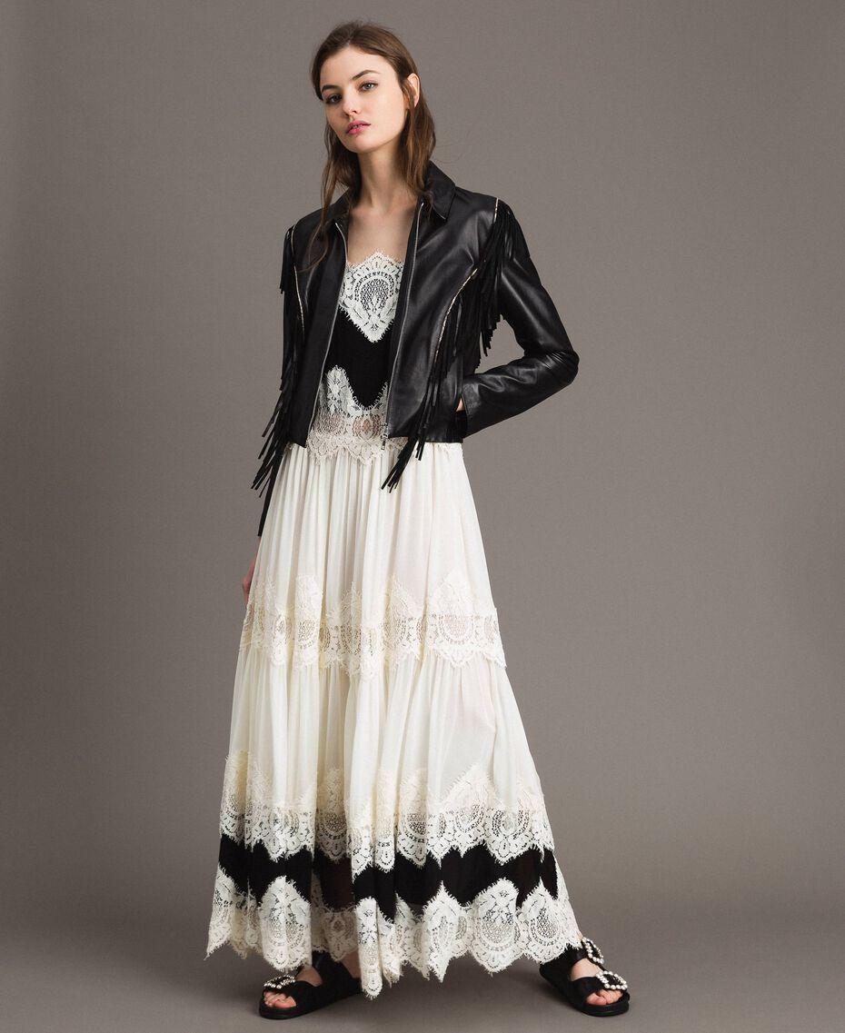 Blouson en cuir à franges Noir Femme 191TT2170-02