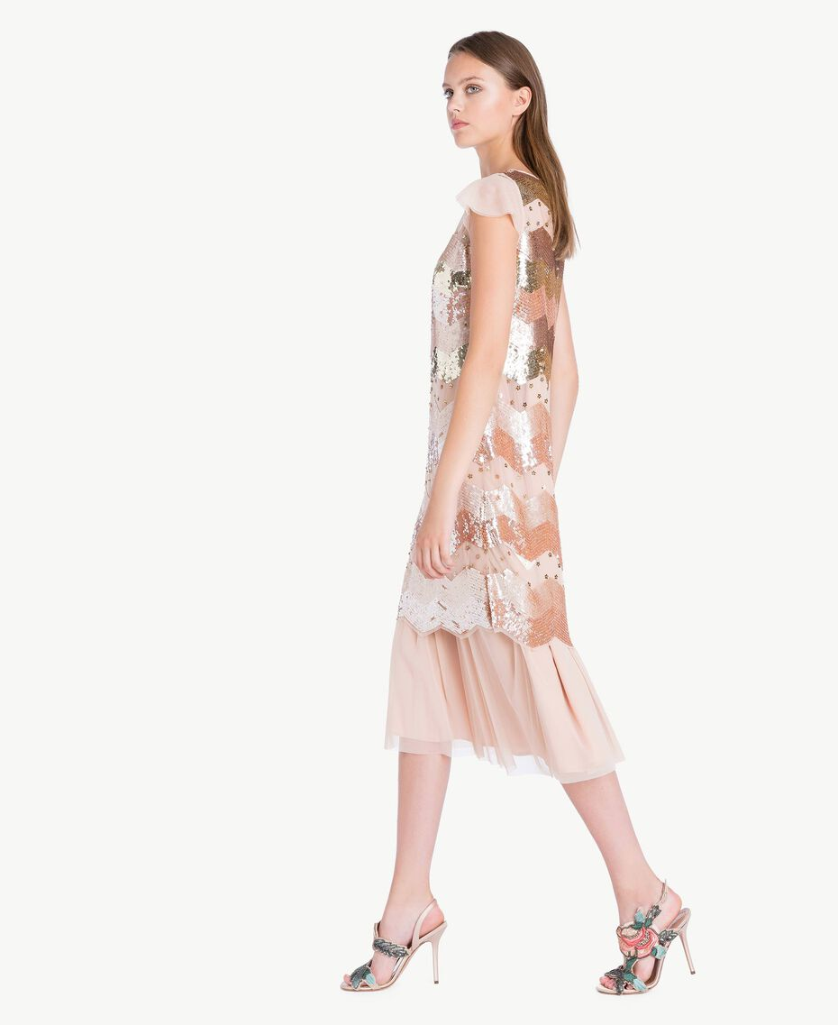 "Sequin tunic and tulle dress ""Nude"" Beige Female QA7PAQ-02"