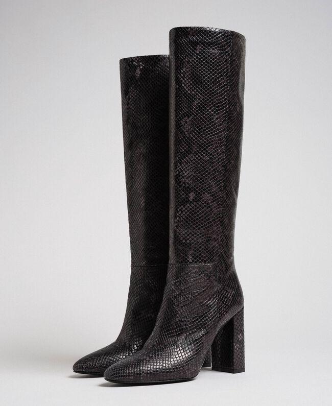 Leather high boots with animal print Dark Green Python Print Woman 192TCP108-01