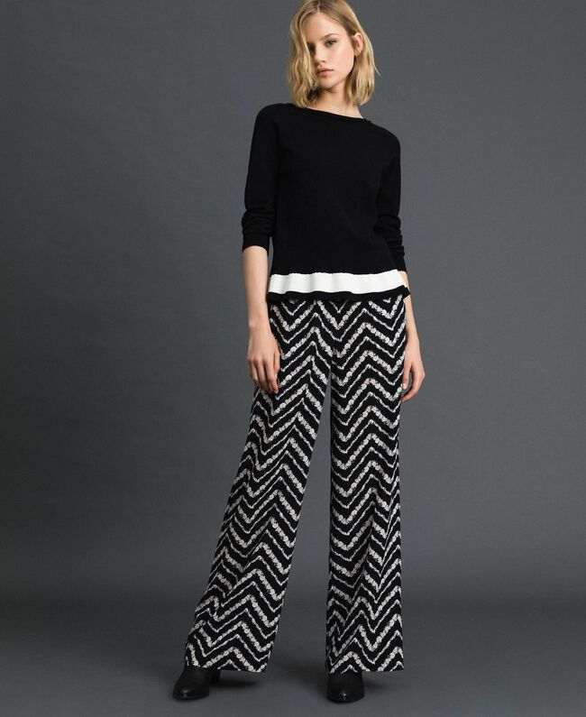 """Contrasting band jumper Black / """"Papyrus"""" White Woman 192TP3104-04"""