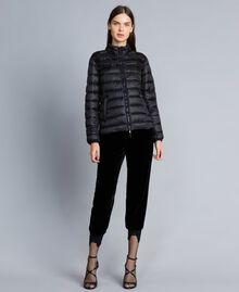 Short shiny nylon padded jacket with ruches Black Woman PA82GS-0T