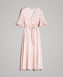 Gestreiftes Satin-Wickelkleid Streifen Pearl Pink Frau 191TP2459-0S