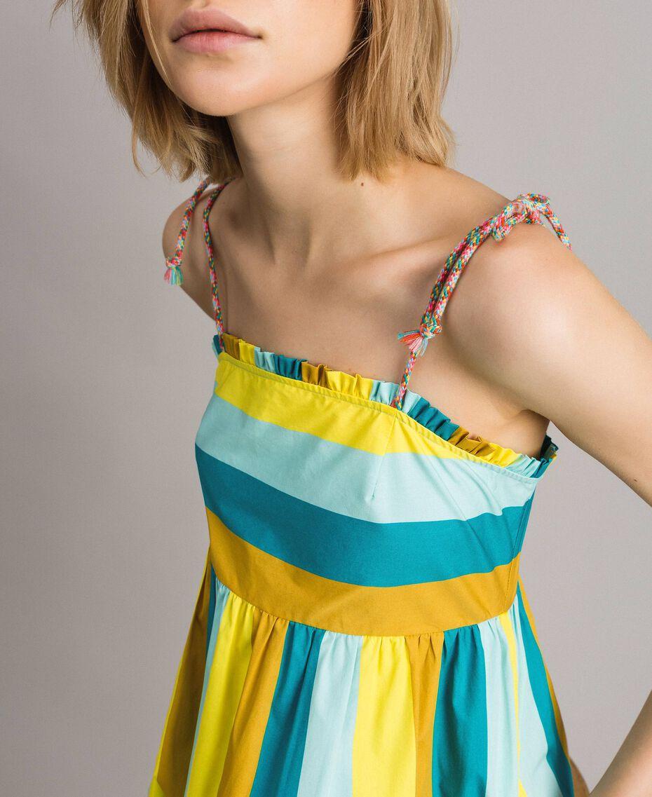 Mehrfarbig gestreiftes Popeline-Maxikleid Multicolour Motiv Keramikblau Frau 191TT2411-05