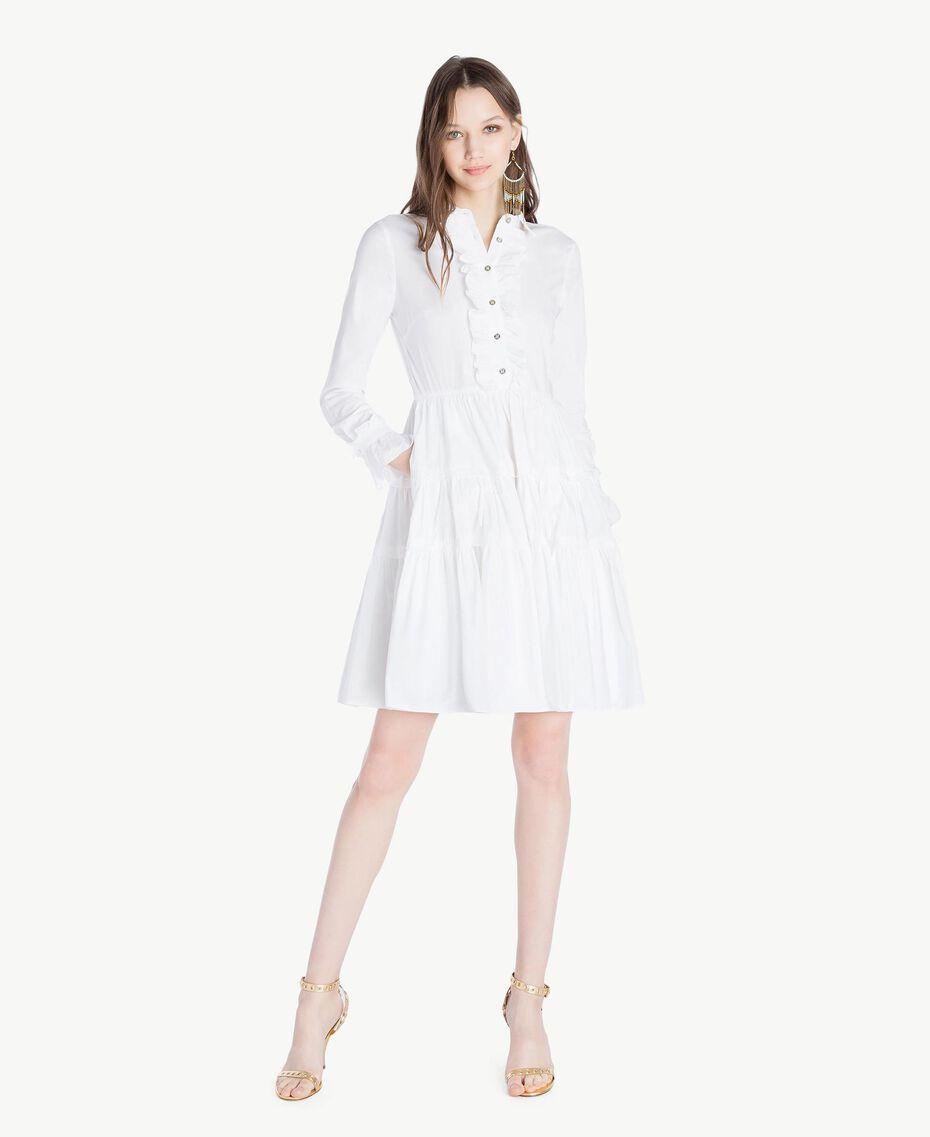 Kleid aus Popeline Weiß Frau TS821X-01