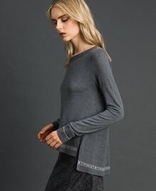 Silk and cashmere jumper with logo Melange Grey Woman 192TP3151-02