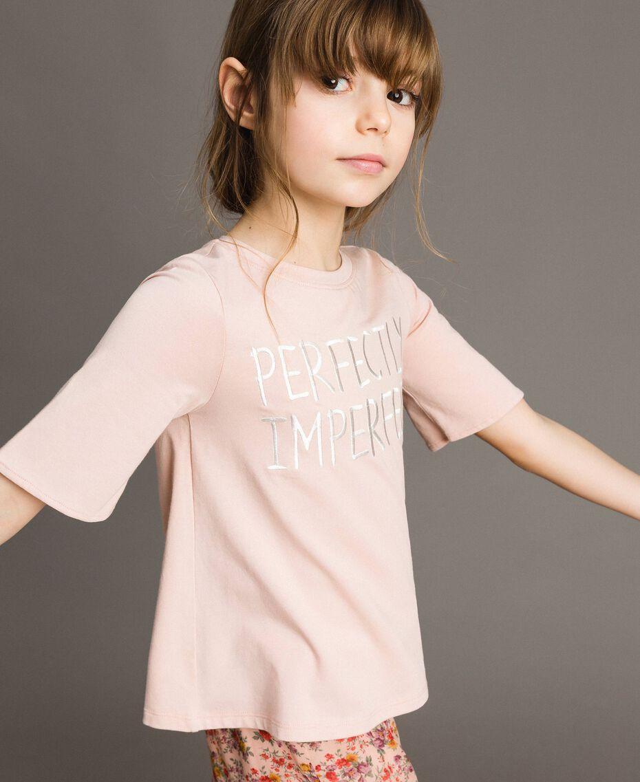 Camiseta de jersey con bordado Rosa Flor Niño 191GJ2032-02